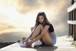 Обои Модель Abigail Croch сидит на мостике, by Javier Ullastres