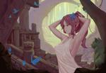 Обои Эльфийка с хвостиком среди голубых бабочек, by bigrbear