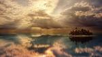 Обои Тропический островок в океане под падающими лучами солнца сквозь облачное небо