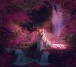 Обои Разноцветная лиса в сказочном цветущем лесу, by Nikkayla