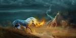Обои Белогривый конь и горящий меч на фоне замка на скале под грозовым небом с молниями, by Nikkayla