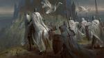 Обои Тамплиеры возвращаются в свой замок на скале после долгих скитаний, by Anton Solovianchyk