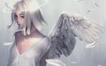 Обои Девушка с крыльями и нимбом над головой