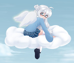Обои Девочка - ангел сидит на облаке, by Mint Lucky