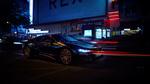 Обои Черный BMW i8 Ultimate Sophisto Edition 2019 на улице вечернего города