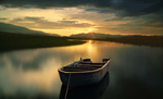 Обои Лодка на воде на фоне заката, by Antonio Amati