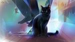 Обои Черный кот рядом с ногами, by LimKis