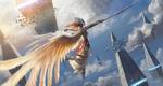 Обои Предводительница валькирий парит в небе с копьем в руке, by pindurski