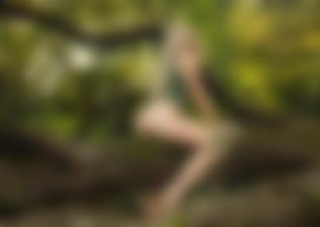 Обои для рабочего стола Полуобнаженная девушка сидит на дереве, by Janis Balcuns