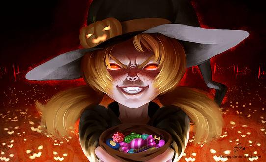 Конкурсная работа Светловолосая девочка в шляпке держит перед собой мешочек конфет на фоне тыкв, by Sebijy