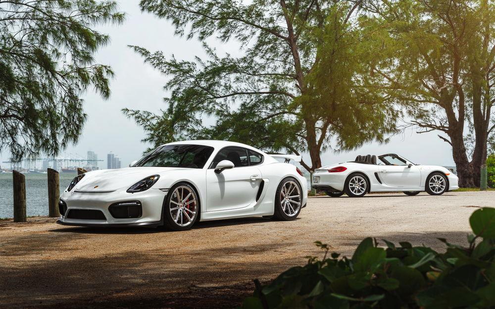 Обои для рабочего стола Два белых Porsche Cayman GT4 стоят на берегу залива у деревьев, фотограф William Stern
