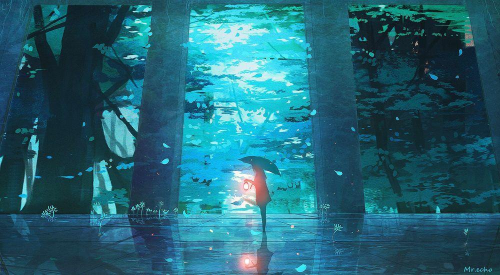 Обои для рабочего стола Девушка с зонтом и фонарем в руке стоит на фоне леса, by Mr. echo