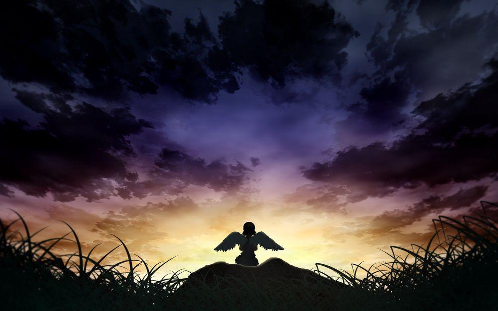 Обои для рабочего стола Ангел любуется закатом