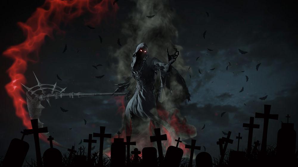 Обои для рабочего стола Жнец смерти размахивает огненной косой на фоне кладбища и летучих мышей в небе