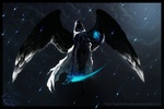 Обои Девушка-ангел смерти парит в небе под метеоритным дождем, светящимся голубым магическим светом, by BoP Art