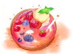 Обои Две птички-ягоды и кит плавают в десерте