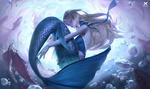 Обои Белокурая девушка-русалка под водой, by Xing-Art
