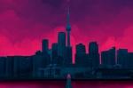 Обои Город на фоне розового неба, by Mattia Lau