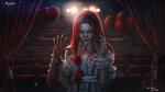 Обои Девушка в наряде клоуна Пеннивайза / Pennywise из фильма ужасов Оно / It держит с оторванной рукой в своей руке, by Evgenij Kungur