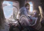 Обои Юноша с чашкой склонился над девушкой-ангелом, раненной стрелой, by Mars Foong
