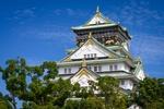 Обои Замок с деревьями на фоне голубого неба, Осака / Osaka, Япония / Japan
