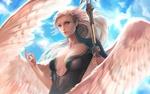 Обои Девушка - ангел с копьем позирует на фоне голубого неба