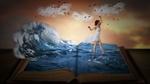 Обои Девушка в белом платье стоит в море на страницах книги, by Stine86Engel