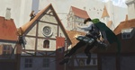 Обои Levi / Леви в военной форме во время учений в городе из аниме Shingeki no Kyojin / Вторжение гигантов