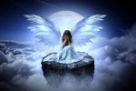Обои Девушка-ангел сидит на обломке скалы над облаками, закрыв лицо ладонями, на фоне полной луны, by Stine86Engel