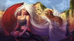 Обои Девочка-ангел дарит волшебный венок израненной девушке-демону, by Dan Kendi