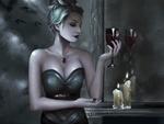 Обои Девушка-Vampire / Вампир с бокалом, by Toni Spagnoletti