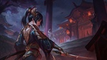 Обои Девушка-Samurai / Самурай стоит ночью у лестницы пагоды, by ye yuan