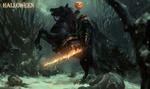 Обои Проклятый Джек с огненным мечом, верхом на коне в бою, среди заснеженного сумрачного леса,(Halloween / Хэллоуин), by Zhuoxin Ye