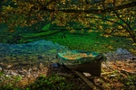 Обои Лодка у берега усыпана осенними листьями, by Giovanni Piras