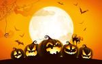Обои Кошка стоит на светильнике Джека на фоне полной луны и парящих летучими мышами, Halloween