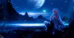 Обои Девушка с голубыми волосами сидит у берега моря в лунную ночь, by Alqmia