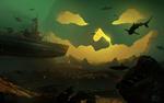 Обои Подводная лодка на глубине, среди акул, подплывает к огромному светильнику Джека, арт к игре World Of Submarines, by Alexander Apeshin