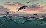 Обои Дельфины в воде и над ней, by Polina 1NFIN1TY Cheliadinova