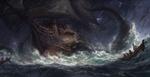 Обои Пираты спасаются на шлюпках с фрегата, на который напал подводный монстр, by Zhuoxin Ye