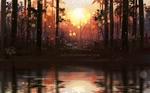 Обои Солнце освещает лес и озеро, by Polina 1NFIN1TY Cheliadinova