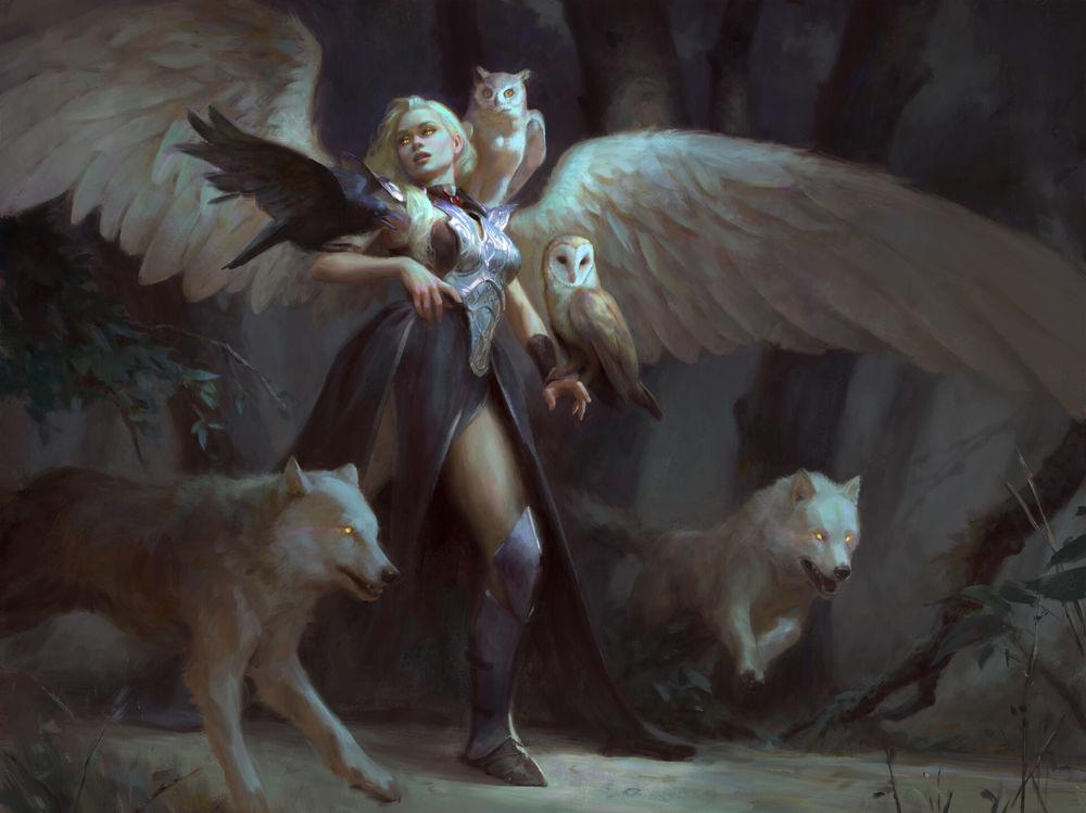 Обои для рабочего стола Queen of the Night / Королева ночи идет по лесу с белыми волками, совой, филином и вороном, by Marta Nael