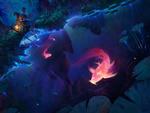 Обои Человек сидит у водоема с плавающими светящимися розовыми рыбками, by Aaron Griffin
