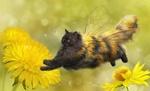 Обои Кошка-оса парит над одуванчиками, by AlenaEkaterinburg