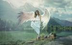 Обои Девушка в образе ангела стоит на камне в окружении воды