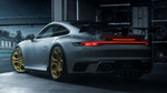 Обои Серебристый Porsche 911 Carrera S 2019 стоит на выезде из автосалона, by TechArt