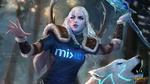 Обои Богиня зимы Skadi / Скади и волк Kaldr / Кальдр из игры Smite, by jaggudada