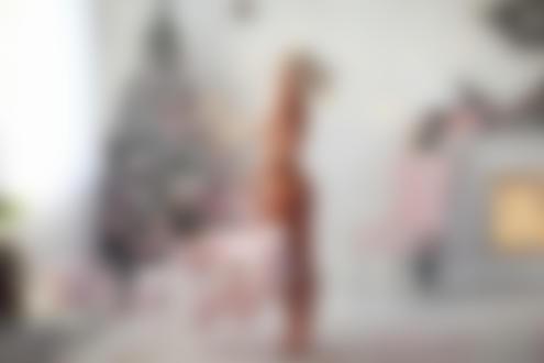 Обои Обнаженная Екатерина Ширяева с игрушечным мишкой стоит в комнате с новогодней елкой. Фотограф Dmitry Arhar