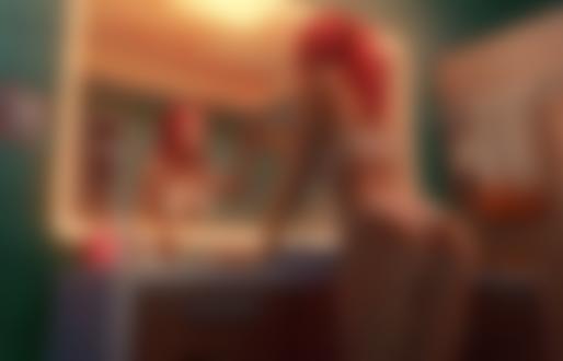 Обои Девушка в нижнем белье помадой пишет на зеркале Merry Christmas / с рождеством, by puz lee