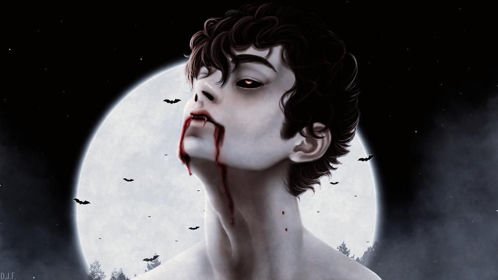Обои для рабочего стола Темноволосый парень-вампир на фоне полной луны, by DaJiF