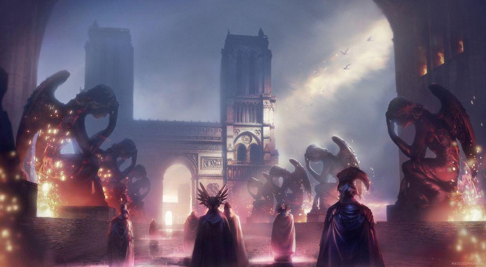 Обои для рабочего стола Правители древнего города идут по мосту среди скульптур сидящих ангелов, by Mateusz Majewski